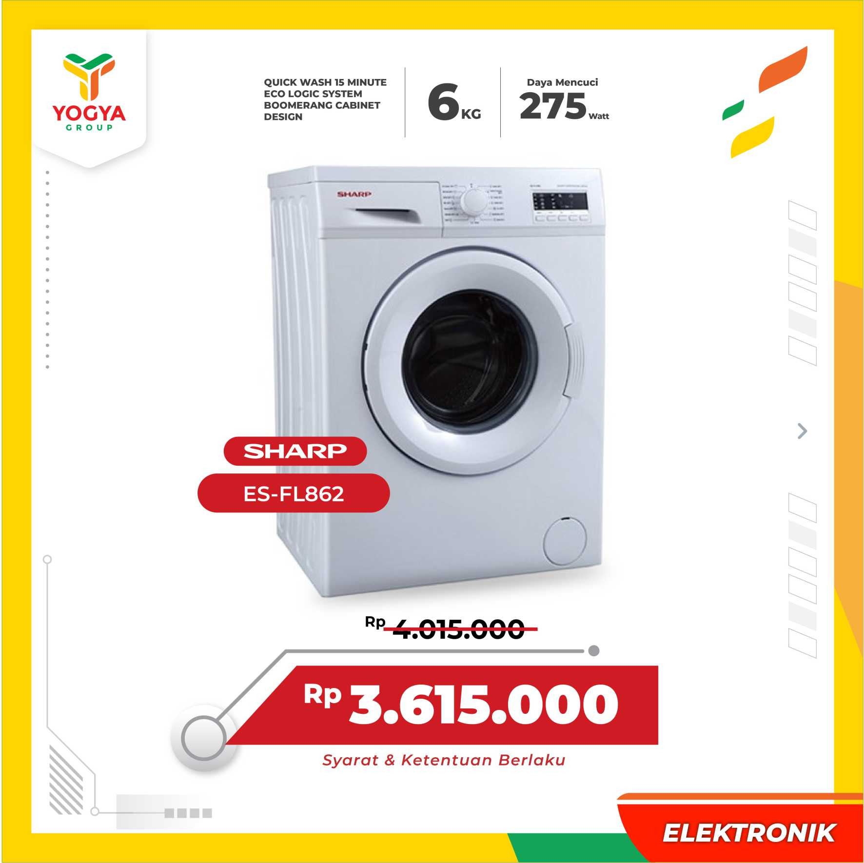 MESIN CUCI SHARP MC ES-FL862  FRONT LOADING 6KG