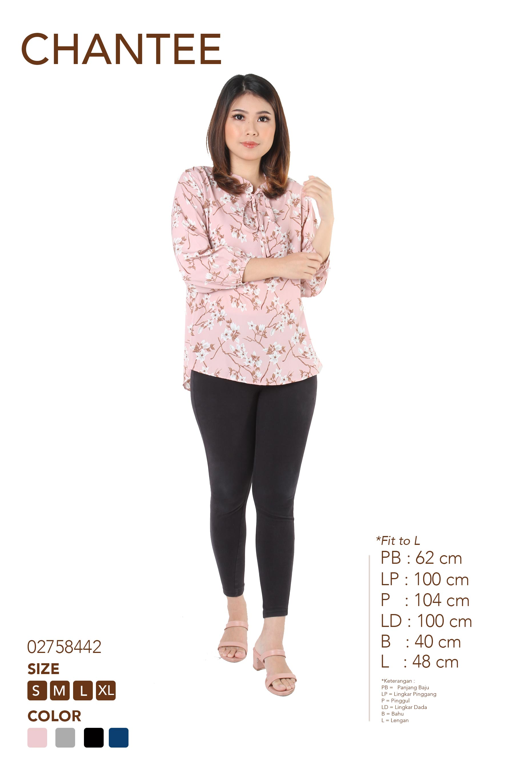 CHANTEE FR006 BLOUSE PRINT WOOLPEACH